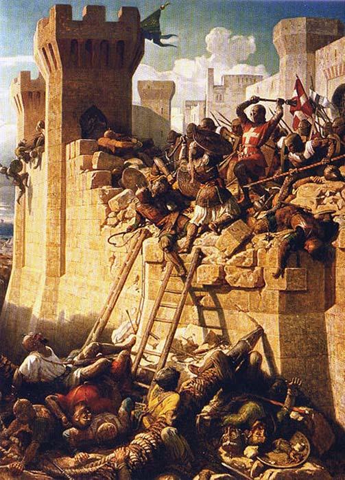 Sitio de Acre. El maestre hospitalario Mathieu de Clermont defendiendo sus murallas en 1291. (Public Domain)