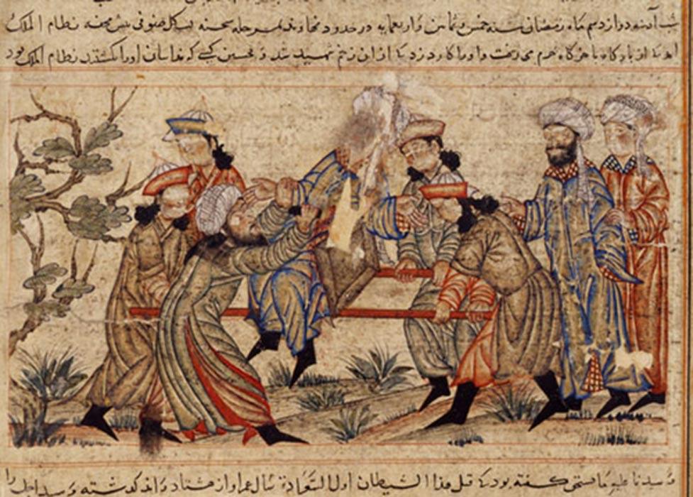 Pintura del siglo XIV en la que aparece representado el asesinato de Nizam al-Mulk. (Public Domain)