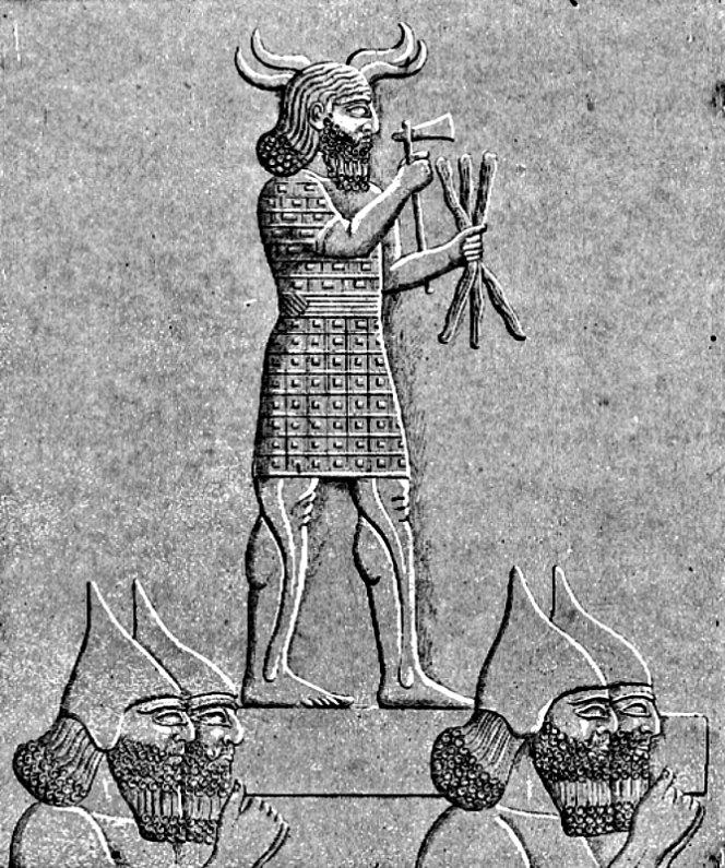 Soldados asirios de Asurbanipal portando una estatua de Adad (conocido también como Ramman), dios del trueno y las tormentas. Dibujo de Faucher-Gudin realizado a partir de un original del arqueólogo Austen Herny Layard (c. 1900) (Public Domain)