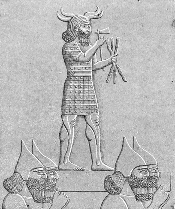 Adad, dios asirio del clima, los huracanes, las tormentas, los truenos y la lluvia. Dibujo de un relieve en el que soldados asirios portan una estatua de Adad. (Lindert/Dominio público)