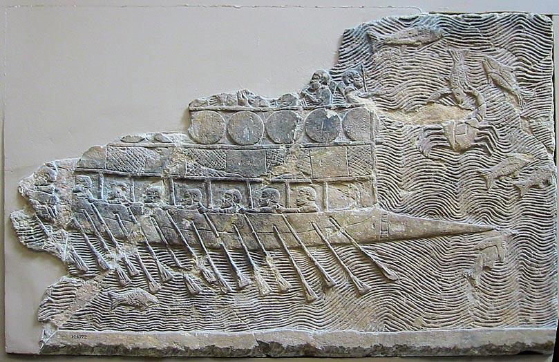 Relieve de un barco asirio del siglo VII a. C. con remeros. (Wikimedia Commons)