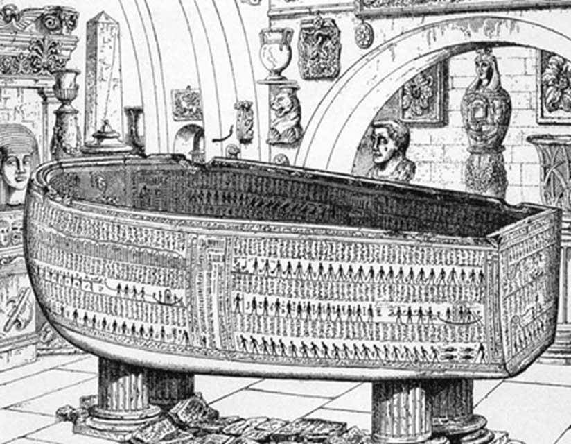 El ataúd de alabastro de Seti l actualmente expuesto en el Museo Soane de Londres con sus 2,84 metros de longitud. Sarcófago de Seti I, faraón de Egipto, 1370 a. C., ilustración realizada por E.A. Wallis Budge, Museo de Sir John Soane (1908).