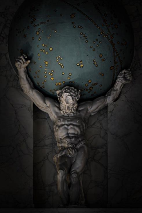 Modernas interpretaciones del mito muestran a menudo a Atlas con el mundo sobre sus hombros, pero en la versión original eran los cielos los que sostenía, condenado a soportar su carga por toda la eternidad. (Cominik Bartsch, Flickr/CC BY 2.0)