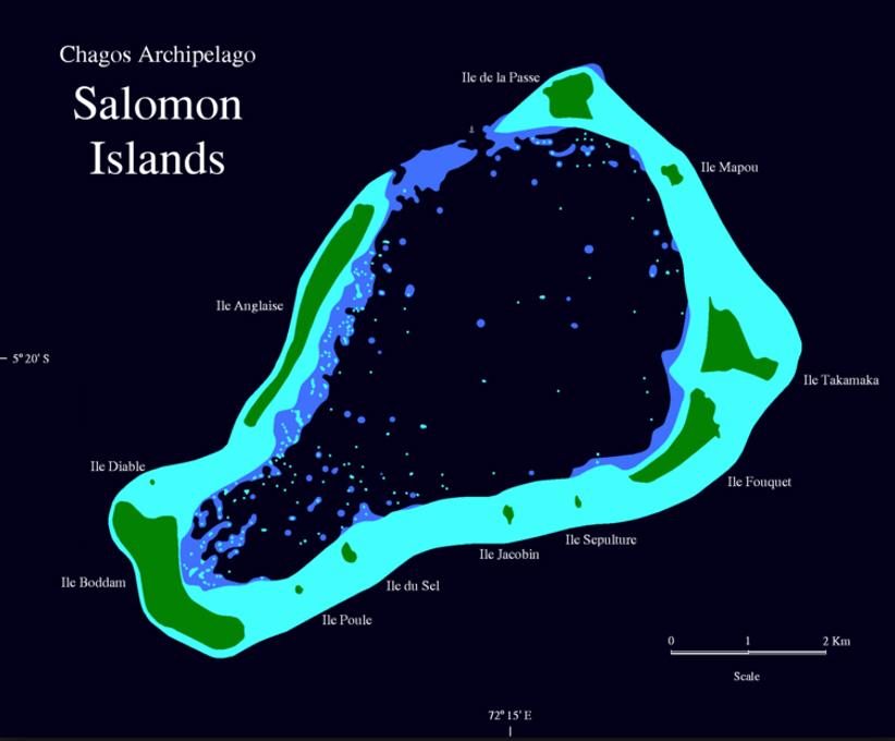 Mapa del atolón de las islas Salomón, Archipiélago de Chagos, Territorios Británicos del Océano Índico (Public Domain)