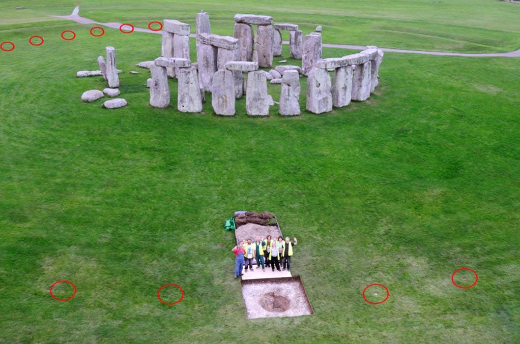 Los 'Aubrey Holes' investigados en los años 20 y que rodean a Stonehenge, marcados con círculos rojos. (Fotografía: Adam Stanford)
