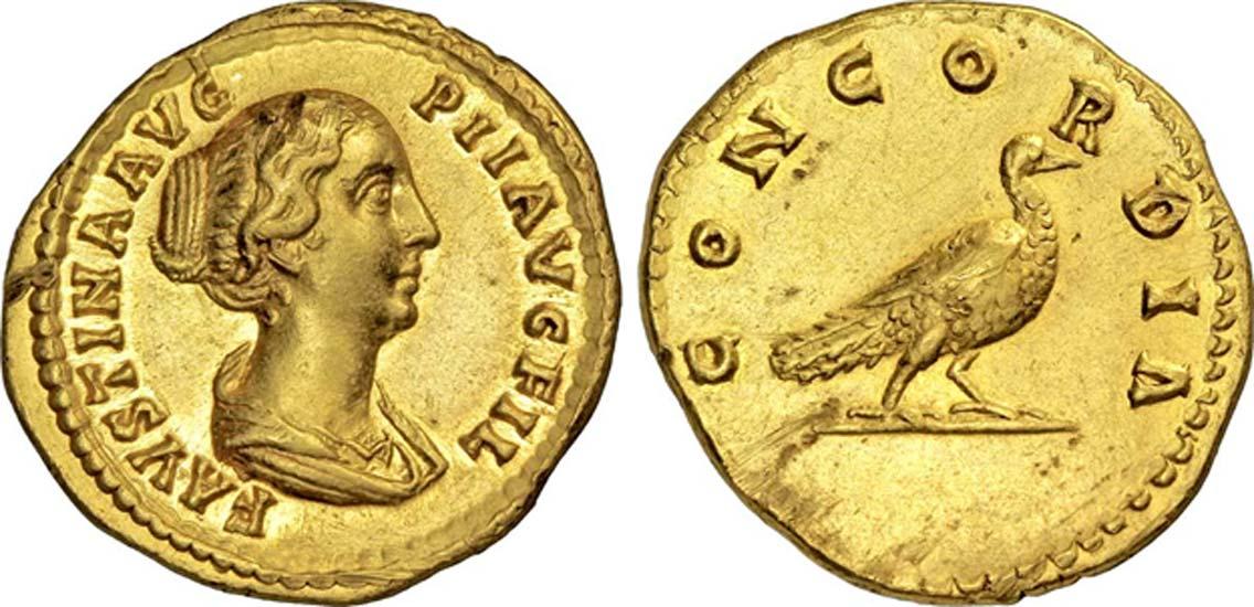 Áureo romano con la efigie de Faustina la Menor (CC BY-SA 3.0)