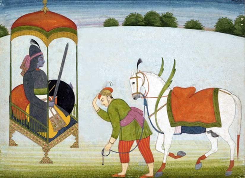 El Avatar de Kalki en las montañas del Punjab, pintura realizada en torno al año 1765 en el antiguo estado Guler del Himalaya. (Public Domain)