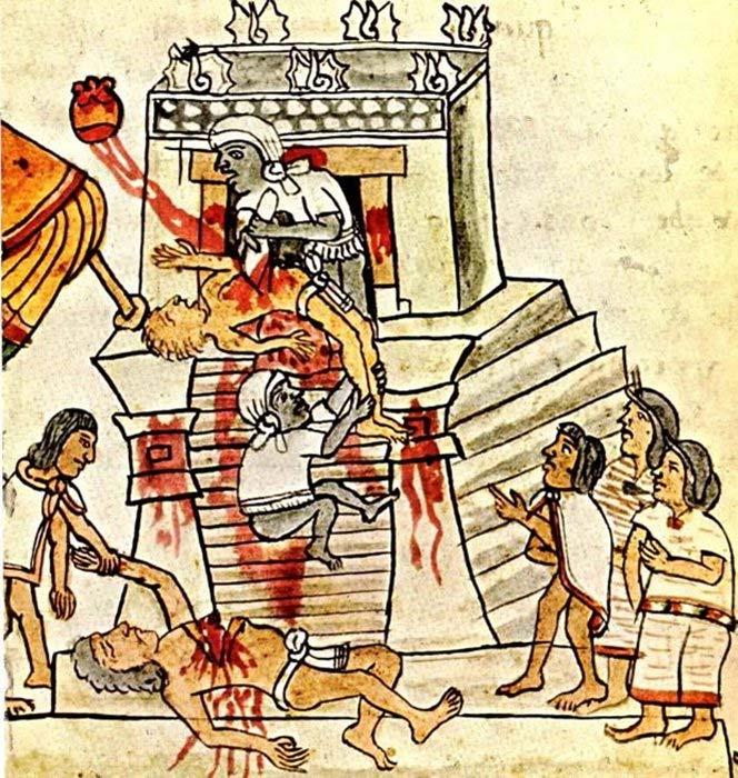 Ilustración de un sacrificio humano ritual Azteca en la página 141 (folio 70r) del Códice Magliabecchiano (Dominio público)