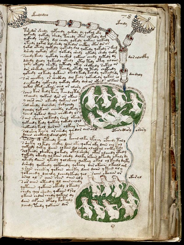 Algunas de las ilustraciones del Manuscrito Voynich donde se representan escenas en las que mujeres desnudas aparecen bañándose, de forma comunal en llamativas piscinas verdes. Beinecke Rare Book & Manuscript Library, Universidad de Yale. (Dominio público)