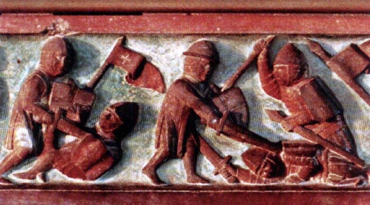 Lituanos combatiendo contra Caballeros Teutónicos (bajorrelieve). (Public Domain)