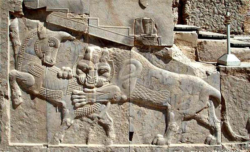 Bajorrelieve de Persépolis, símbolo del Nowruz zoroástrico: en el día del equinoccio de primavera el poder del toro (que simboliza la tierra) y el del león (el Sol) son iguales. (Wikimedia Commons)