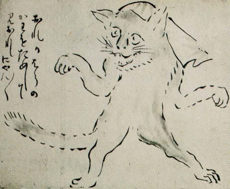"""El bakeneko (""""Gato transformado"""") japonés es un yōkai, un tipo de criatura mágica. (Public Domain)"""
