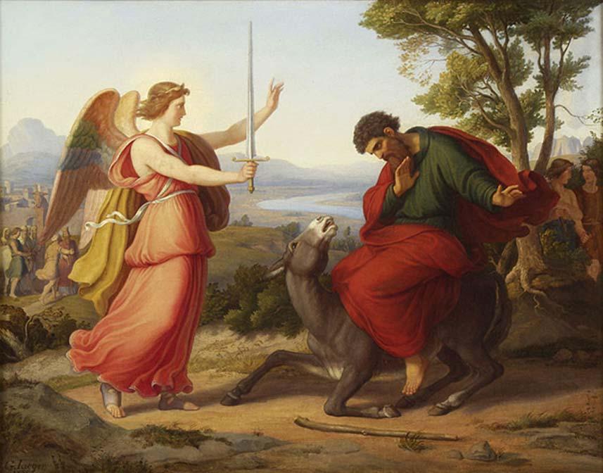 'Balaam y el ángel', pintura de Gustav Jaeger, 1836. (Dominio público)