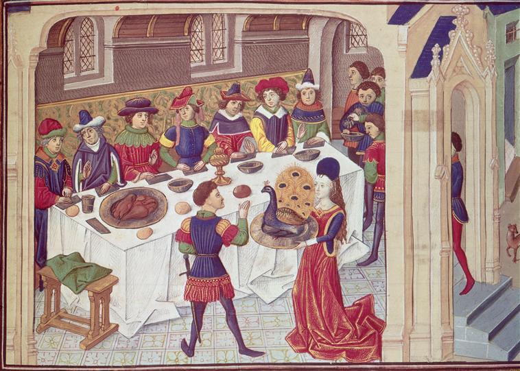 """Miniatura de mediados del siglo XV en la que se observa una típica escena de un 'banquet du paon' (""""banquete del pavo real""""). Ilustración del manuscrito 'Libro de las conquistas y los hechos de Alejandro', París, Museo del Petit-Palais. (Public Domain)"""