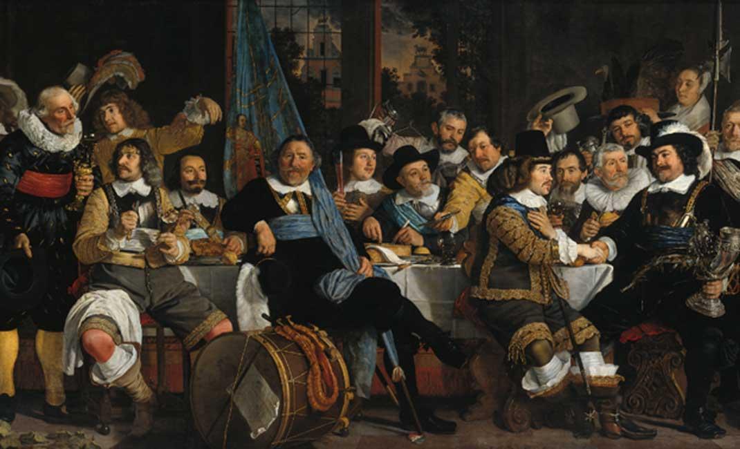 En la Inglaterra medieval, una ley suntuaria prohibió los festines en los que se consumía una cantidad excesiva de carne. 'Banquete de la Guardia Cívica de Amsterdam en la celebración de la Paz de Münster', 1648 (Public Domain)
