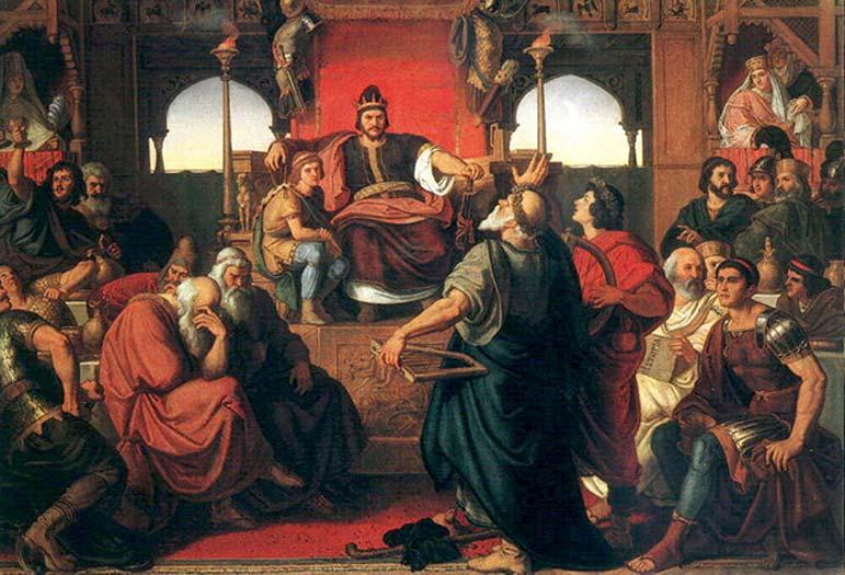 """""""El banquete de Atila"""" (1870) óleo de Mór Than. (Public Domain) Cuenta la leyenda que Atila, rey de los hunos, habría muerto tras una larga noche de banquetes y celebraciones. Sin embargo aún se discute la causa exacta de su muerte."""