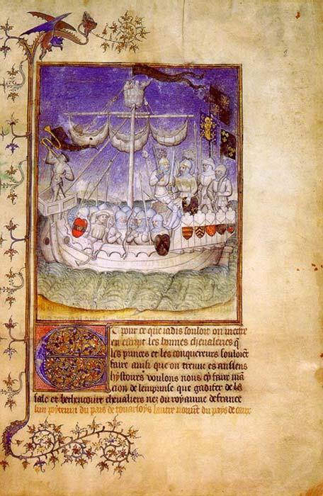 Ilustración de un barco normando en la crónica 'Le Canarien' (1490). (Dominio público)