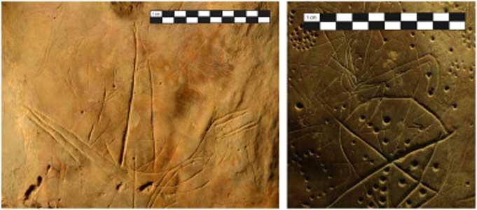 """Izquierda: El grabado del barco se encuentra cercano a la parte más profunda de la cueva. Derecha: """"estallido de una estrella"""", cúpulas y cuadrúpedos. (S. Murray)"""