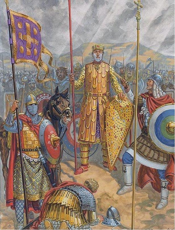 Basilio II era conocido como el Matador de Búlgaros. Aquí le vemos con su armadura completa en el Campamento Georgiano, 1020. (pinterest.com)
