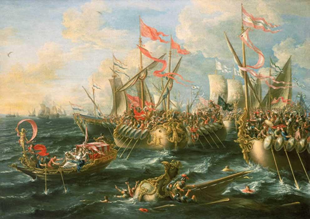 'La batalla de Actium, 2 de septiembre del 31 a. C.', óleo de Laureys a Castro pintado en 1672 (Public Domain)