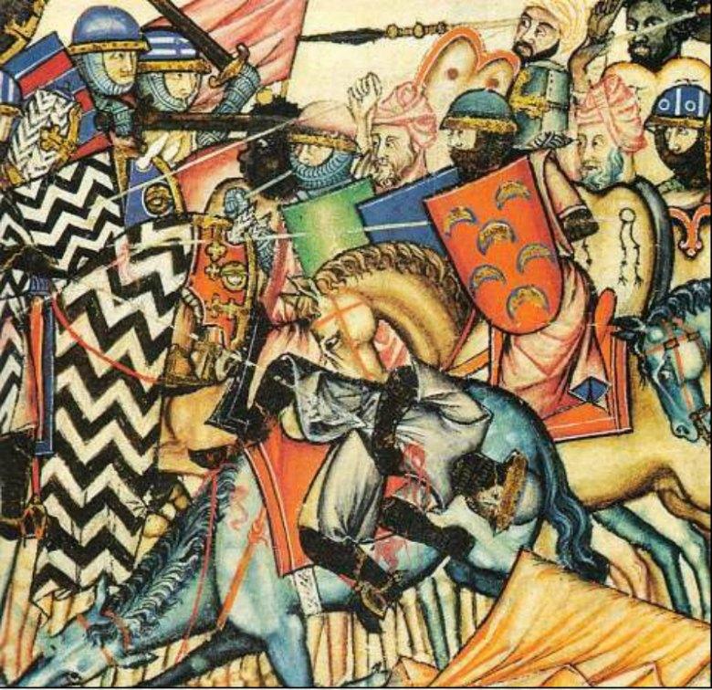 Los restos óseos de los varones presentan fracturas típicas de una época violenta, con múltiples enfrentamientos. En la imagen, miniatura perteneciente a las Cantigas de Santa María en la que podemos observar una típica batalla de la Reconquista. (Siglo XIII). (Public Domain)