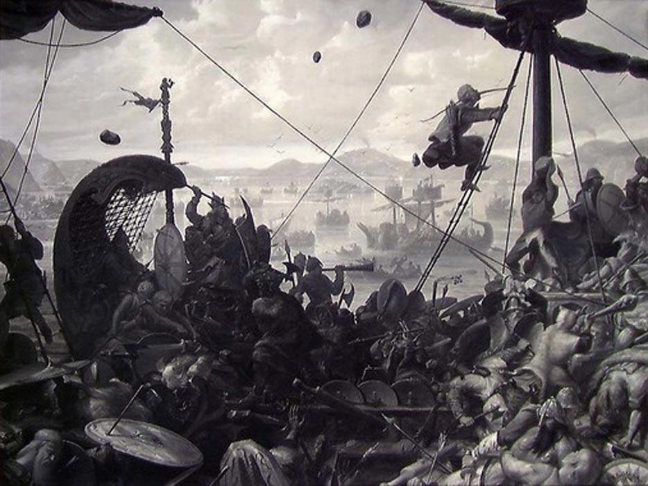 Batalla de Hafrsfjord, óleo de Ole Peter Hansen Balling, 1870. (Public Domain)