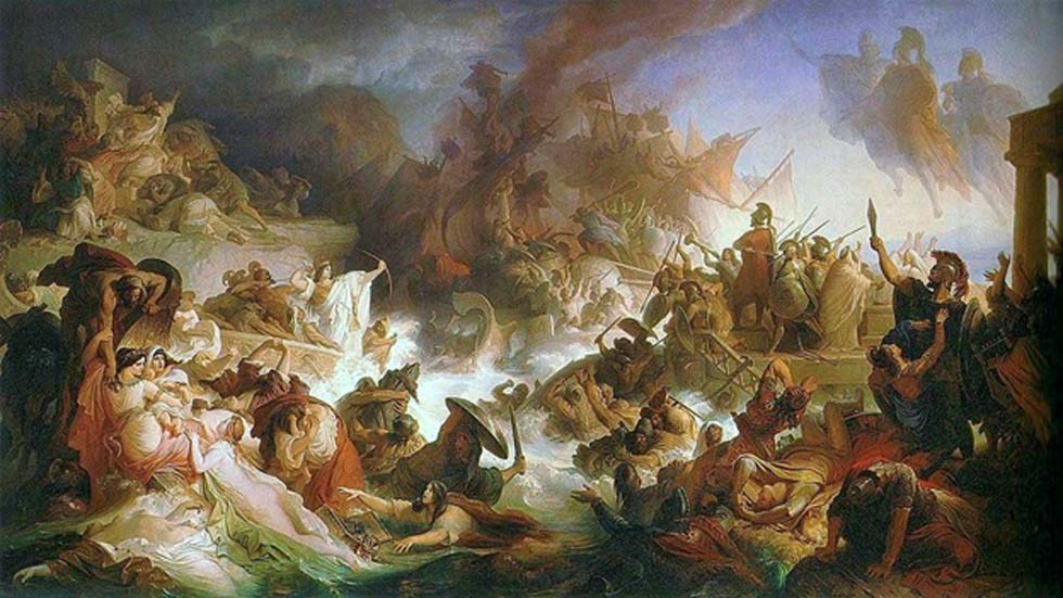 Versión romántica de la batalla de Salamina pintada por Wilhelm von Kaulbach. (Dominio público)
