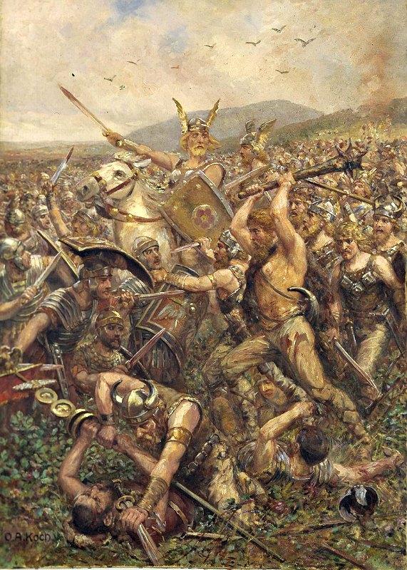 'Batalla del bosque de Teutoburgo' (1909), Otto Albert Koch (1866-1920). Lippisches Landesmuseum Detmold. (Public Domain)