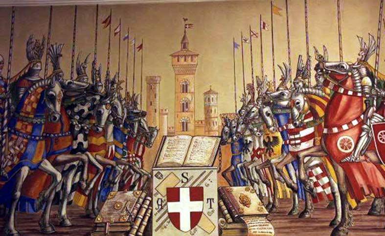 En 1325, la güelfa Bolonia y la gibelina Módena entraron en guerra a causa del robo del cubo de un pozo en la Guerra del Cubo, en la que se produjo la Batalla de Zappolino. (Public Domain)