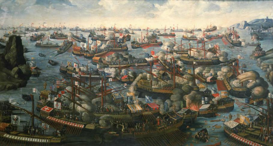 Galeras combatiendo en la batalla de Lepanto (1571), óleo de autor desconocido, Museo Marítimo Nacional de Greenwich (Public Domain)
