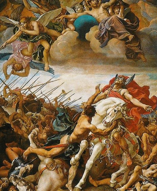 Batalla de Tolbiac entre los francos y los alamanes, fresco del Panteón de París pintado por Joseph Blanc en el siglo XIX. El guerrero austríaco cuyo pie izquierdo fue amputado vivió con posterioridad a esta batalla, aunque todos los indicios apuntan a que su herida se produjo en el transcurso de algún combate. (Wikimedia Commons)