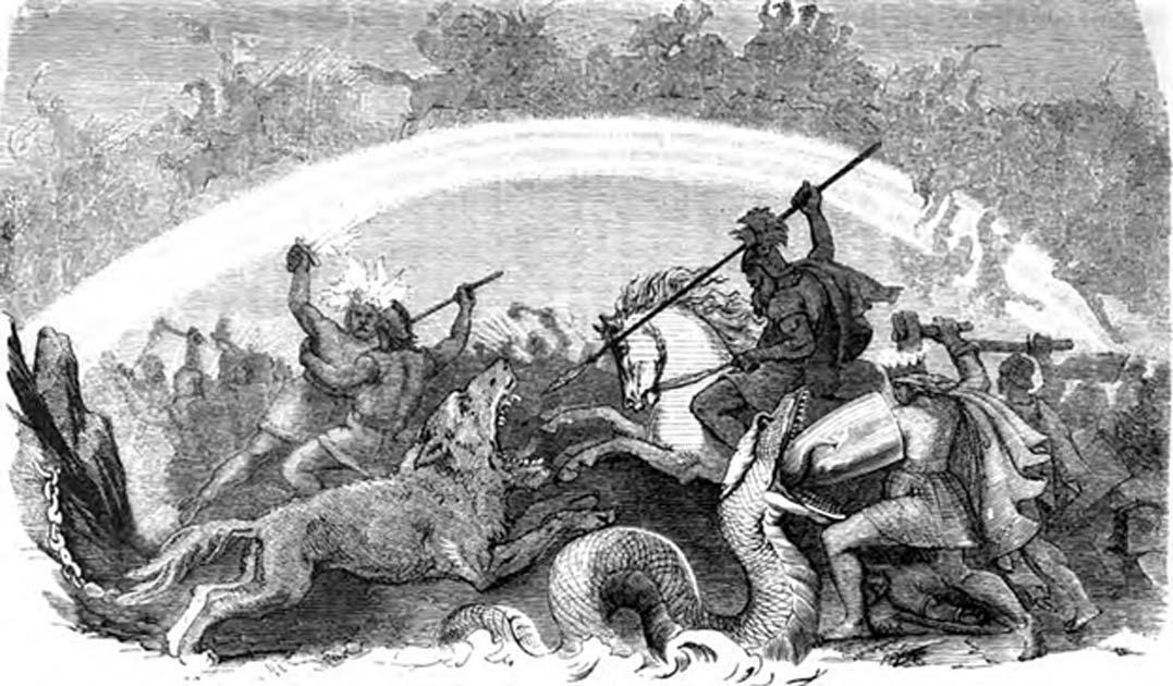 """""""La batalla de los dioses condenados"""", Ragnarök: Odín cabalga hacia la batalla y apunta con su lanza a la boca abierta del lobo Fenrir. Thor se defiende de la serpiente Jörmungandr con su escudo mientras empuña su martillo Mjöllnir, Freyr y el llameante Surtur combaten, y al fondo se observa cómo una inmensa batalla se libra sobre el puente del arco iris Bifröst y en torno a él. (Dominio público)"""