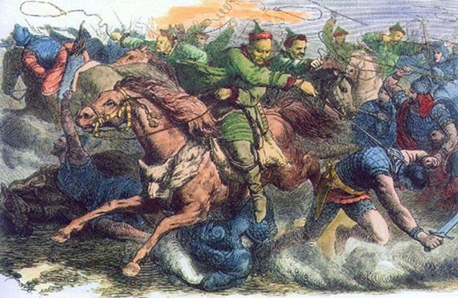 Los hunos en batalla contra los alanos, grabado de la década de 1870 basado en un dibujo de Johann Nepomuk Geiger (1805-1880). (Dominio público)