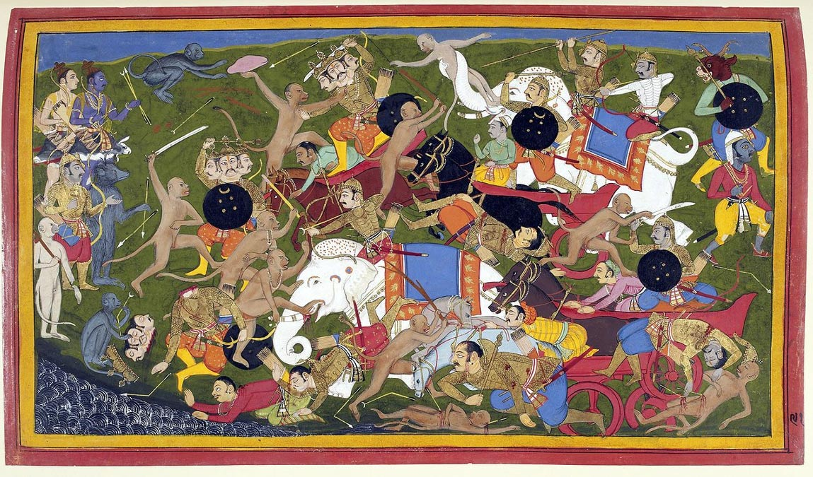 Pintura de una batalla mítica en la que combaten monos y elefantes. En ella se enfrentaron Rama, avatar hindú del dios Vishnu, y el Rey de Lanka. Tanto monos como elefantes han sido utilizados en la guerra real. (Wikimedia Commons)