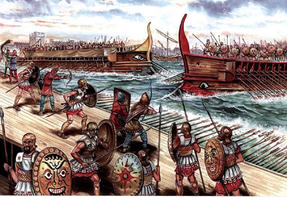 Ilustración de la batalla naval de Siracusa (413 a. C.) entre Atenas y Esparta, Guerra del Peloponeso. (Imagen original)