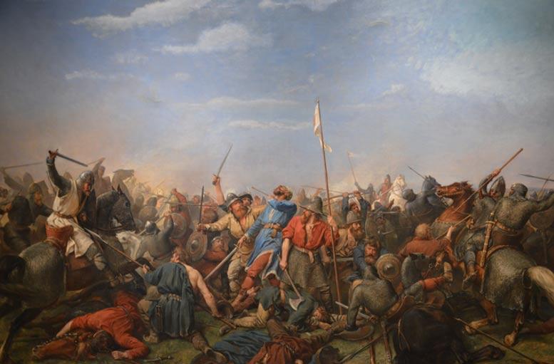 Pintura de la batalla de Stamford Bridge por Peter Nicolai Arbo, en la que podemos ver al rey Harald Hardrada en el momento de recibir un flechazo en el cuello (Wikimedia Commons)