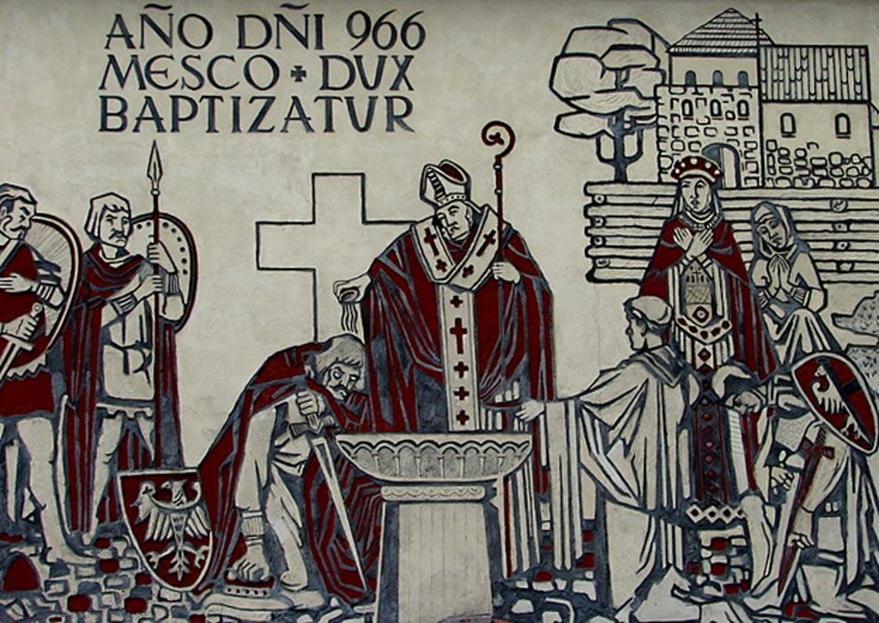 Mural contemporáneo de la ciudad de Gniezno en el que se conmemora el bautismo de Polonia. (Public Domain)