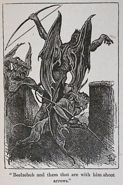 """""""Belcebú y los que le acompañan arrojando flechas"""", ilustración del libro de John Bunyan 'El progreso del peregrino' (1678) (Public Domain)"""