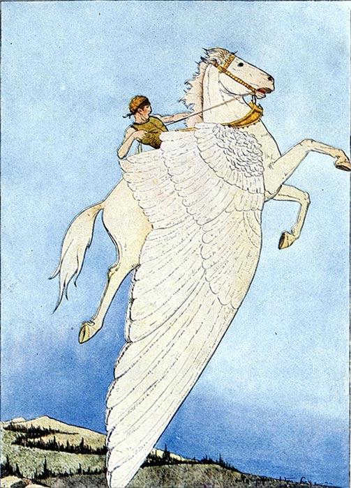 Belerofonte cabalgando a Pegaso (1914) (Public Domain)