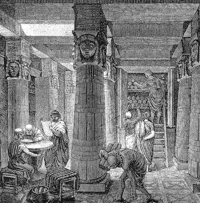 Biblioteca de Alejandría (Public Domain)