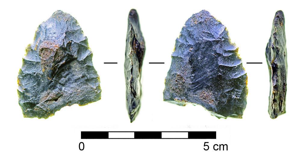 La herramienta bifaz hallada recientemente en el yacimiento de Page-Ladson. Las bifaces se caracterizan por una elaborada talla de la piedra por sus dos caras. (Fotografía: Ars Technica)