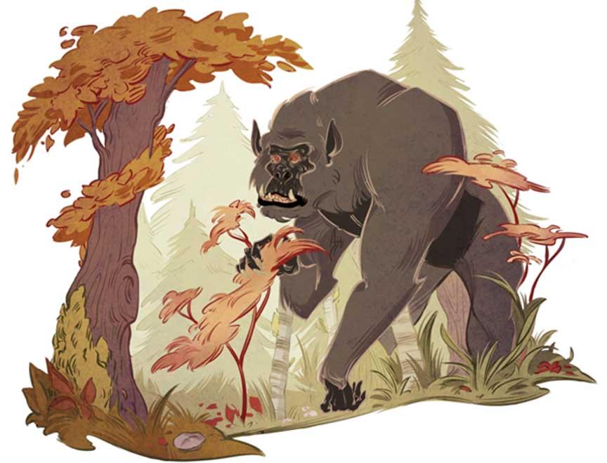 El famoso Bigfoot. Ilustración de Alexandria Huntington para expedia.co.uk