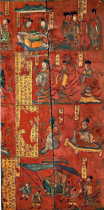 """En una sociedad con fuertes inclinaciones masculinas, los ideogramas Nü Shu eran, con frecuencia, la única forma de apoyo sentimental y afectivo entre hermanas, madres y amigas. En la imagen, pintura sobre biombo de la época de la dinastía Wei del Norte (386 d. C. – 535 d. C.), en la que aparecen diversos """"hijos piadosos y mujeres virtuosas"""" de la historia de China; en el panel inferior se ilustra la historia de la consorte Ban (Escena 5 de las Admoniciones de las Institutrices de la Corte). (Public Domain)"""