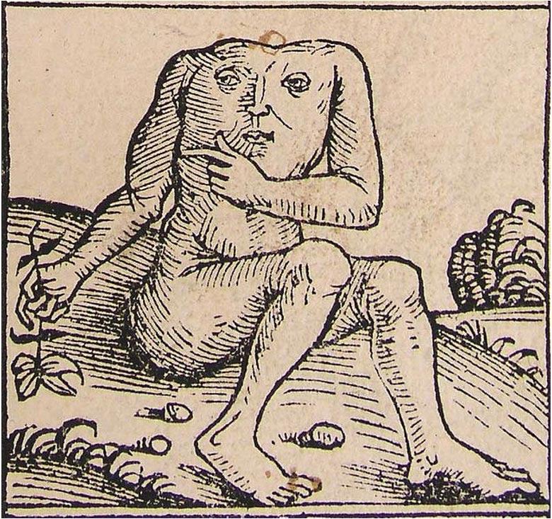 """Ilustración de un blemio perteneciente a las """"Crónicas de Nuremberg"""". (Wikimedia Commons)"""