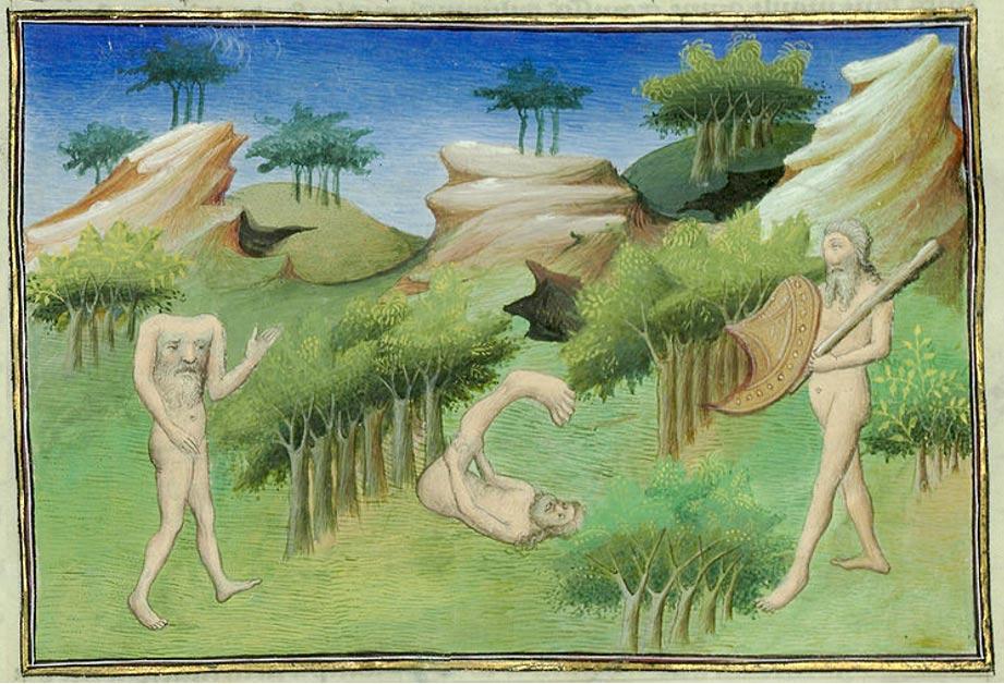 Antigua ilustración medieval en la que se observan un blemio y un monopodo (Wikimedia Commons)
