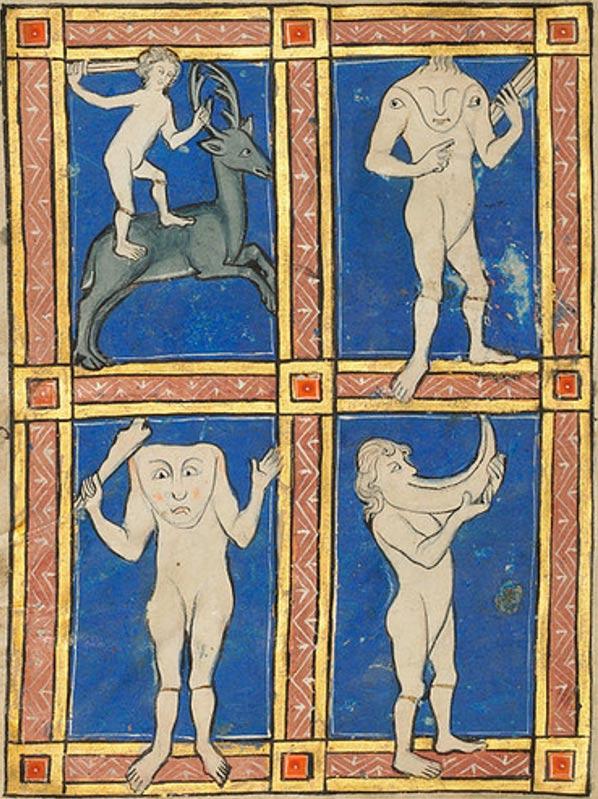 Un Hombre Sin cabeza con Ojos sobre Sus Hombros; un Hombre Sin cabeza con el Rostro sobre Su Pecho; un Hombre con un Gran Cuerno por Boca, ilustración del siglo XIII (Wikimedia Commons)