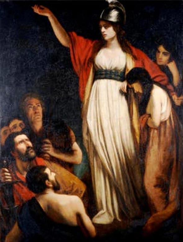 Boadicea arengando a los Bretones, John Opie. (Wikipedia)