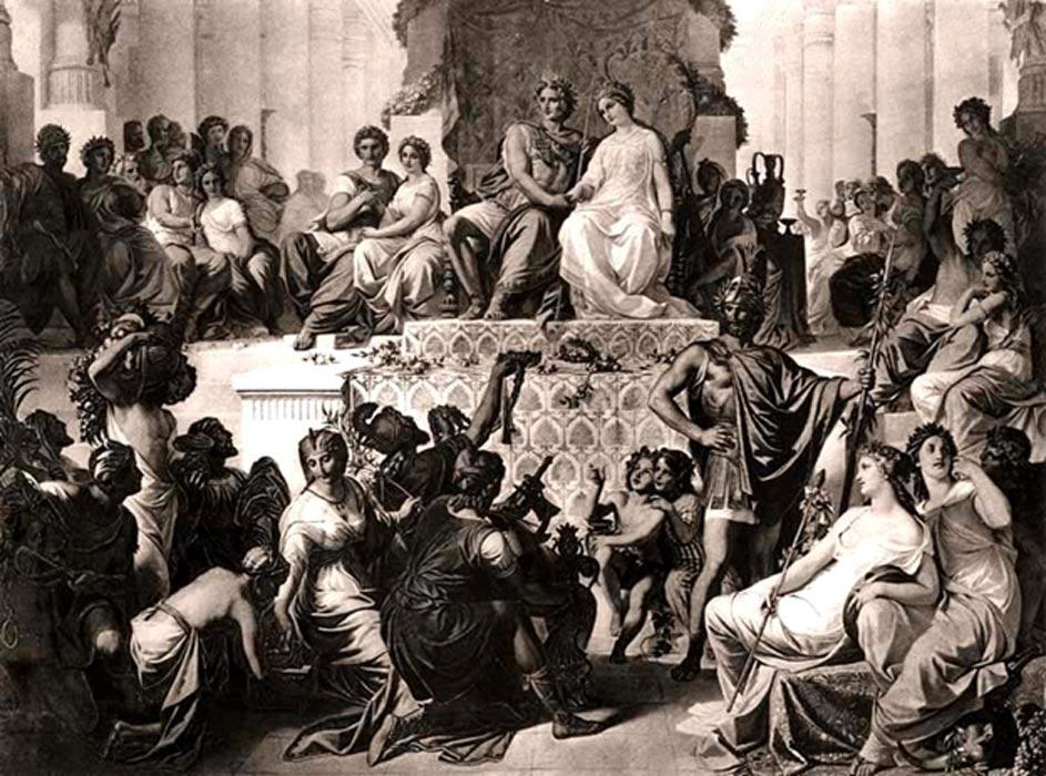 Las bodas de Susa: Alejandro con Estatira (derecha) y Hefestión con Dripetis (izquierda). Grabado de finales del siglo XIX. (Public Domain)