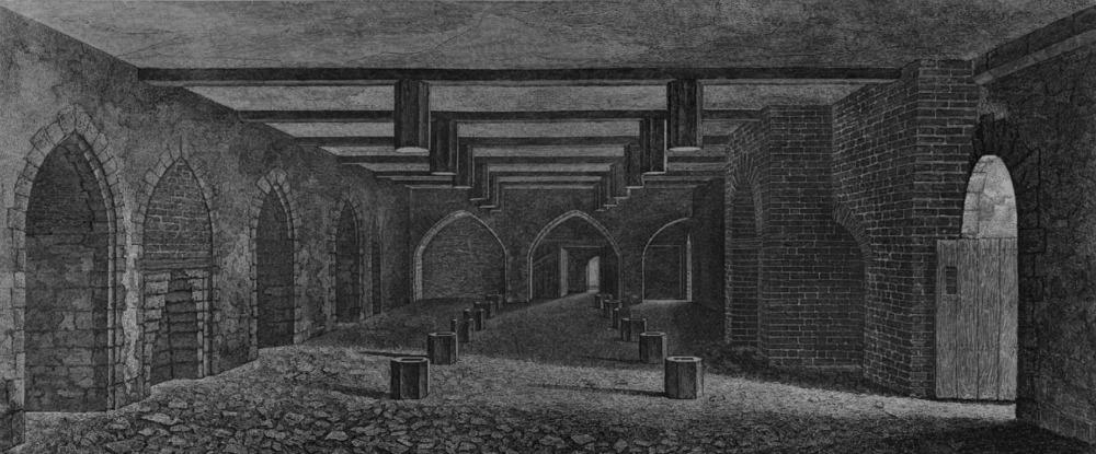 La bodega bajo la Cámara de los Lores, en una ilustración de 1799. Aquí almacenaron los conspiradores en 1605 los 36 barriles de pólvora con los que pretendían volar este Parlamento de la época durante la sesión de Apertura del Estado (Public Domain)