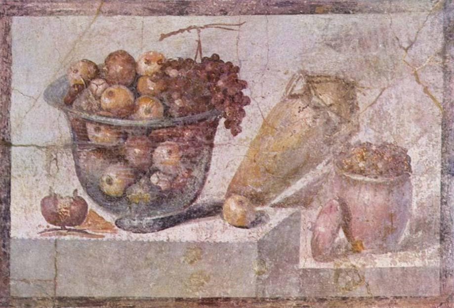 'Bodegón con cuenco de cristal con fruta y jarrones' realizado por un pintor pompeyano en el 70 d. C., Museo Archeologico Nazionale, Nápoles, Italia. (Dominio público)